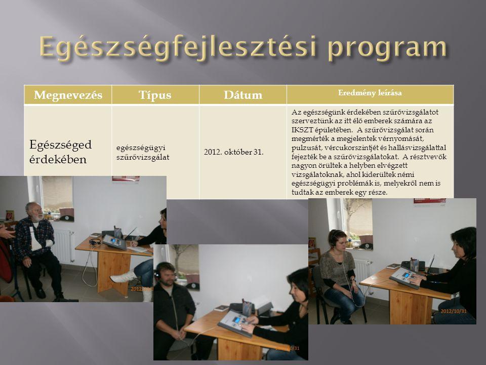 MegnevezésTípusDátum Eredmény leírása Egészséged érdekében egészségügyi szűrővizsgálat 2012. október 31. Az egészségünk érdekében szűrővizsgálatot sze