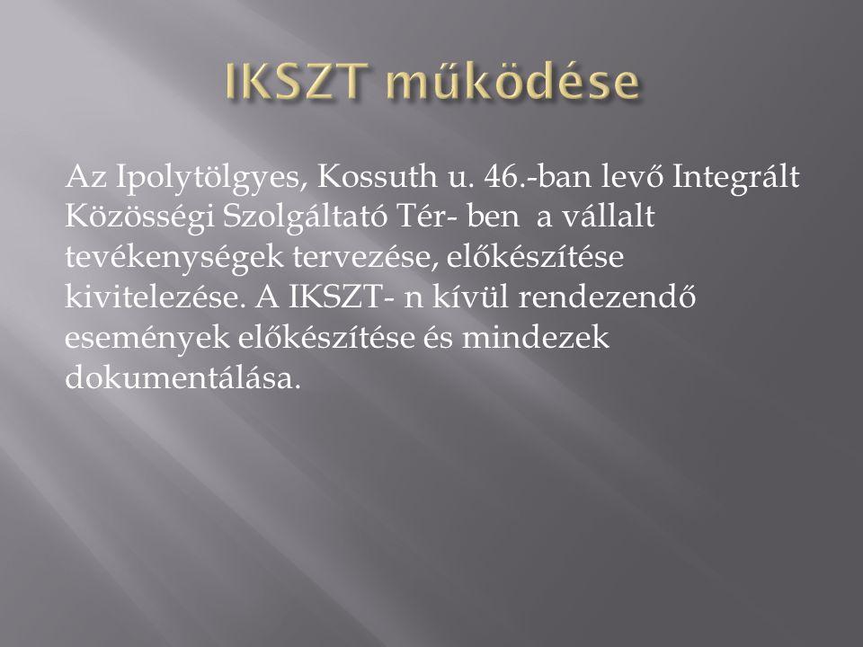 Az Ipolytölgyes, Kossuth u. 46.-ban levő Integrált Közösségi Szolgáltató Tér- ben a vállalt tevékenységek tervezése, előkészítése kivitelezése. A IKSZ