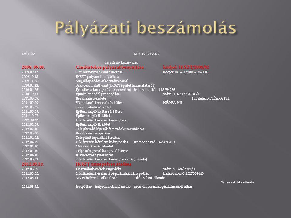 DÁTUMMEGNEVEZÉS Tisztújító közgyűlés 2008. 09.08.Címbirtokos pályázat benyújtásakódjel: IKSZT/2008/02 2009.09.15.Címbirtokosi okirat érkezésekódjel: I