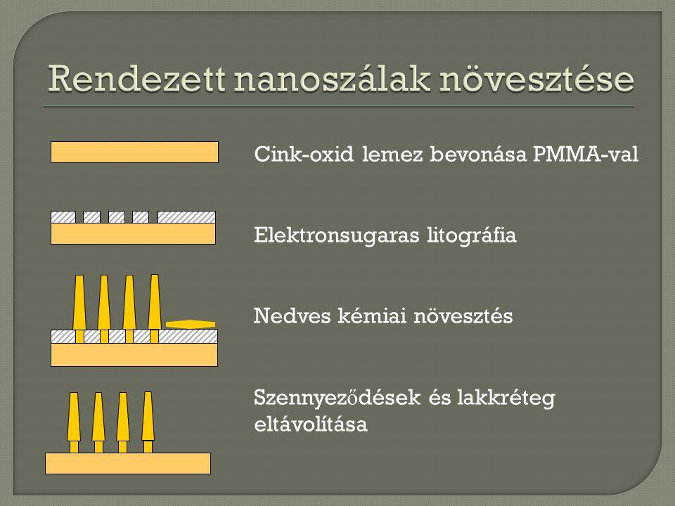 Cink-oxid lemez bevonása PMMA-val Elektronsugaras litográfia Nedves kémiai növesztés Szennyez ő dések és lakkréteg eltávolítása