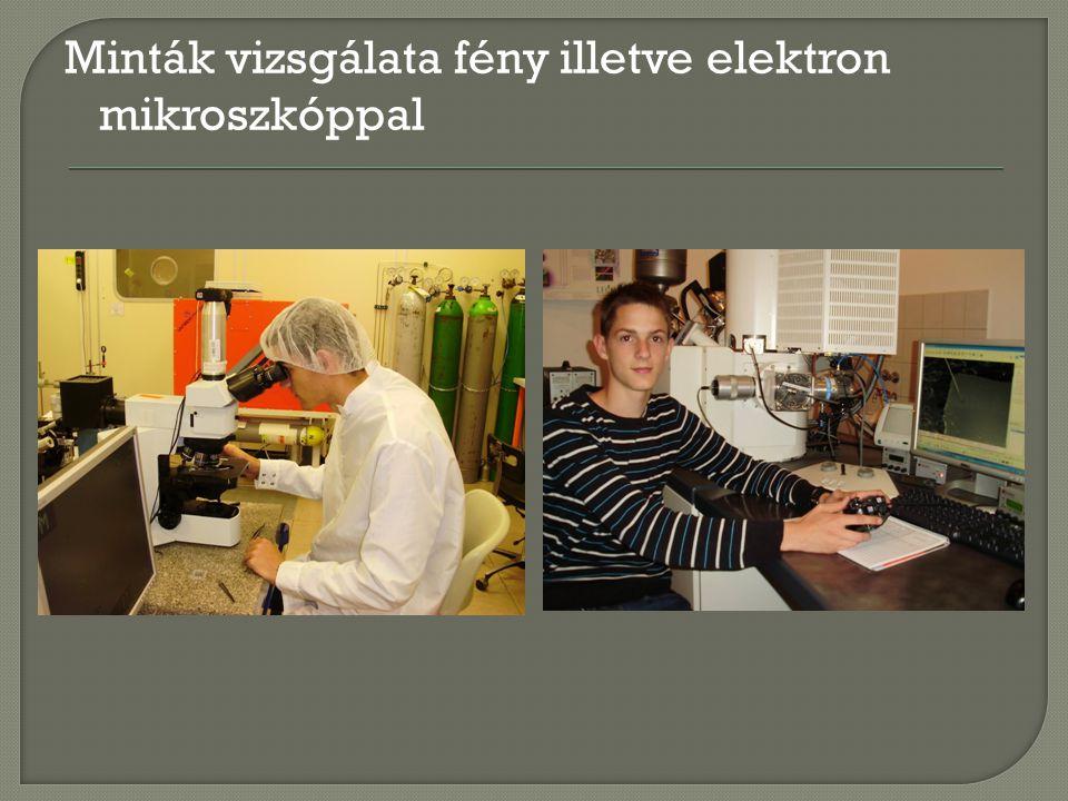 Minták vizsgálata fény illetve elektron mikroszkóppal