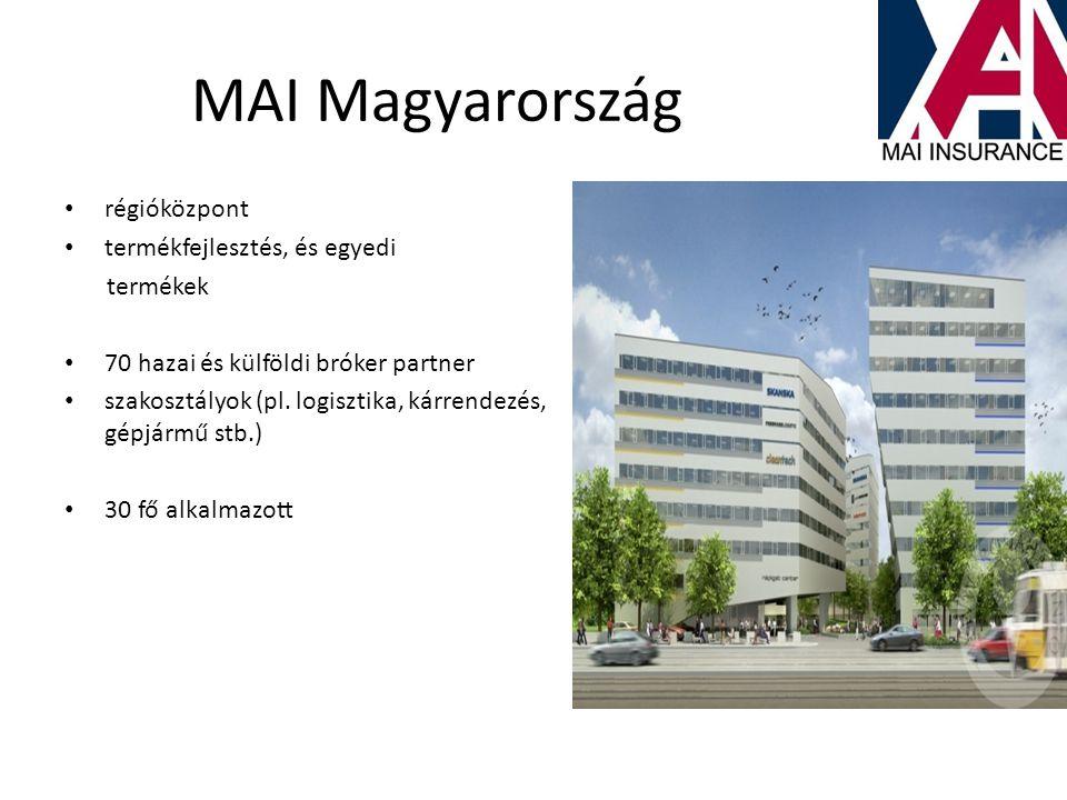 MAI Magyarország • régióközpont • termékfejlesztés, és egyedi termékek • 70 hazai és külföldi bróker partner • szakosztályok (pl. logisztika, kárrende