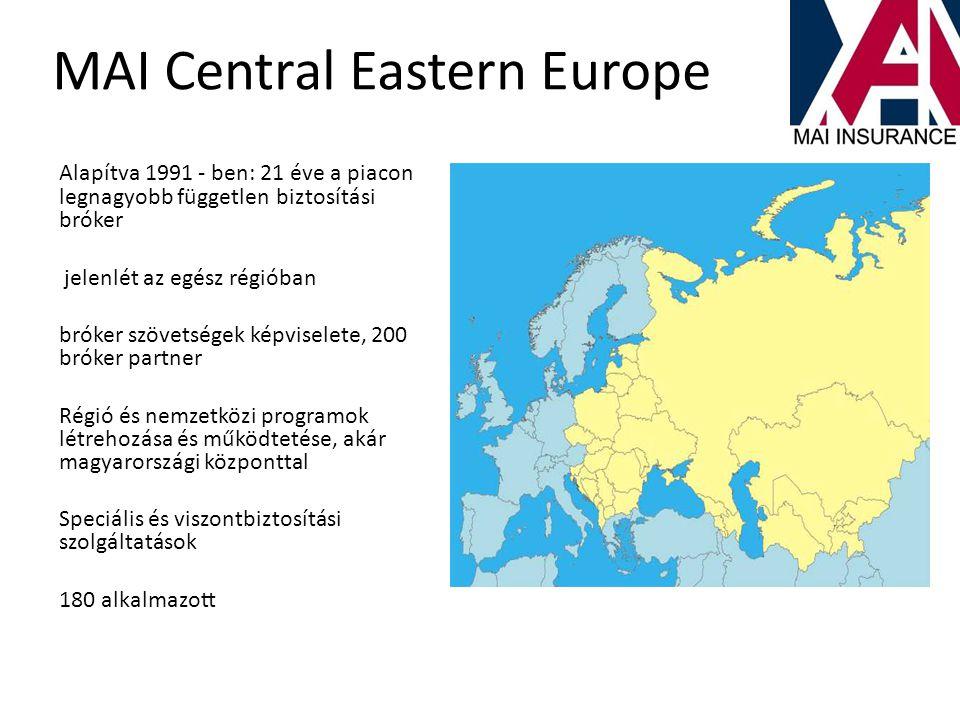 MAI Central Eastern Europe Alapítva 1991 - ben: 21 éve a piacon legnagyobb független biztosítási bróker jelenlét az egész régióban bróker szövetségek