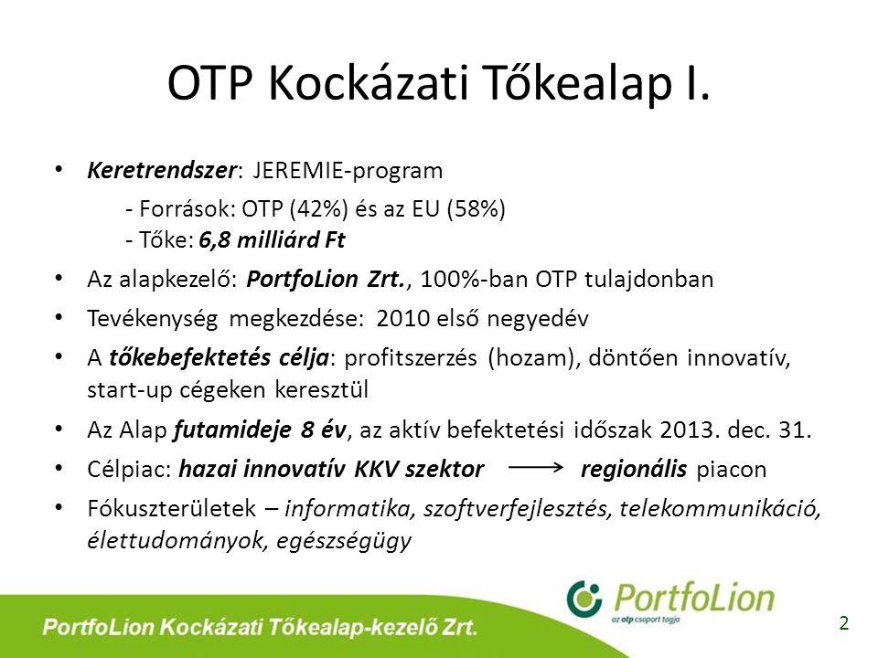 OTP Kockázati Tőkealap I. 2 • Keretrendszer: JEREMIE-program - Források: OTP (42%) és az EU (58%) - Tőke: 6,8 milliárd Ft • Az alapkezelő: PortfoLion