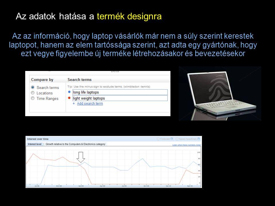 Google Confidential and Proprietary Az az információ, hogy laptop vásárlók már nem a súly szerint kerestek laptopot, hanem az elem tartóssága szerint, azt adta egy gyártónak, hogy ezt vegye figyelembe új terméke létrehozásakor és bevezetésekor Az adatok hatása a termék designra