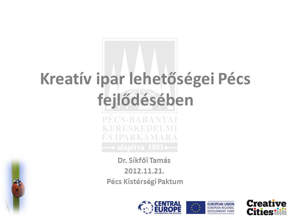 Kreatív ipar lehetőségei Pécs fejlődésében Dr. Síkfői Tamás 2012.11.21. Pécs Kistérségi Paktum