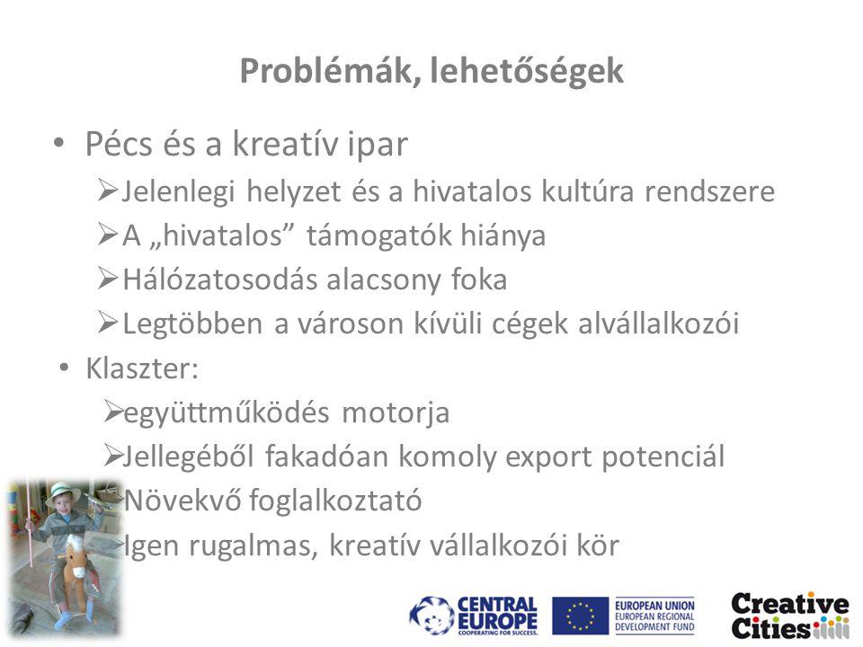 """Problémák, lehetőségek • Pécs és a kreatív ipar  Jelenlegi helyzet és a hivatalos kultúra rendszere  A """"hivatalos támogatók hiánya  Hálózatosodás alacsony foka  Legtöbben a városon kívüli cégek alvállalkozói • Klaszter:  együttműködés motorja  Jellegéből fakadóan komoly export potenciál  Növekvő foglalkoztató  Igen rugalmas, kreatív vállalkozói kör"""
