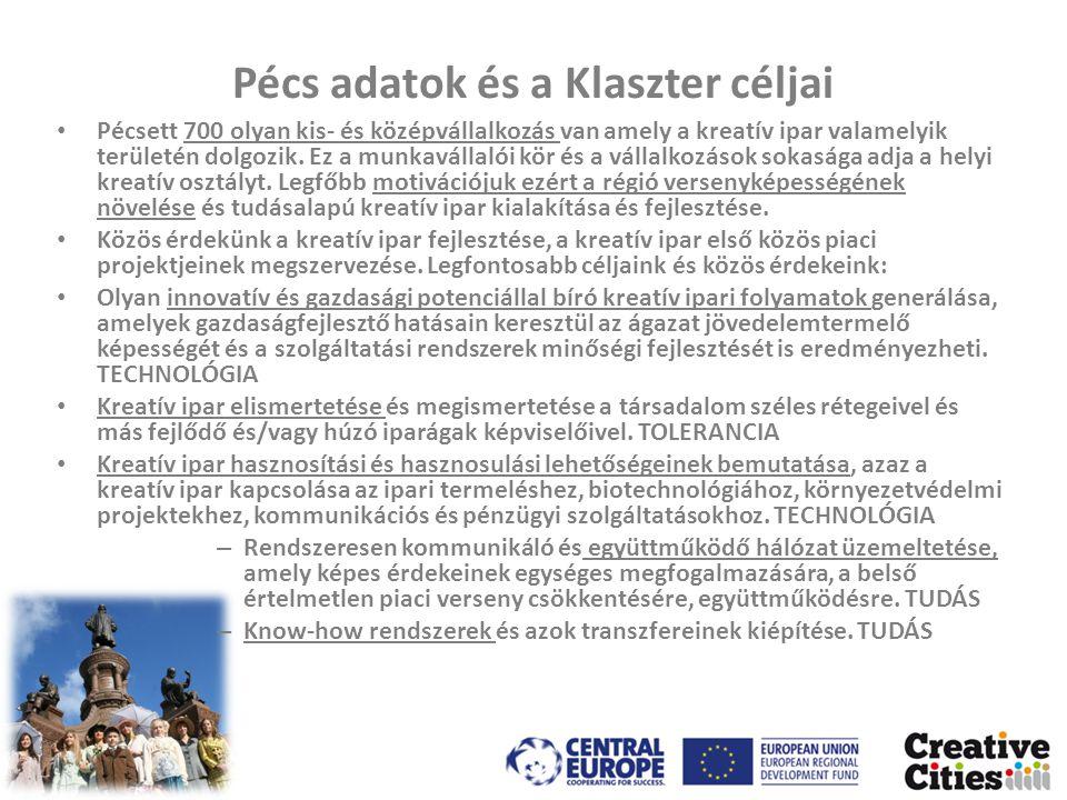Pécs adatok és a Klaszter céljai • Pécsett 700 olyan kis- és középvállalkozás van amely a kreatív ipar valamelyik területén dolgozik.