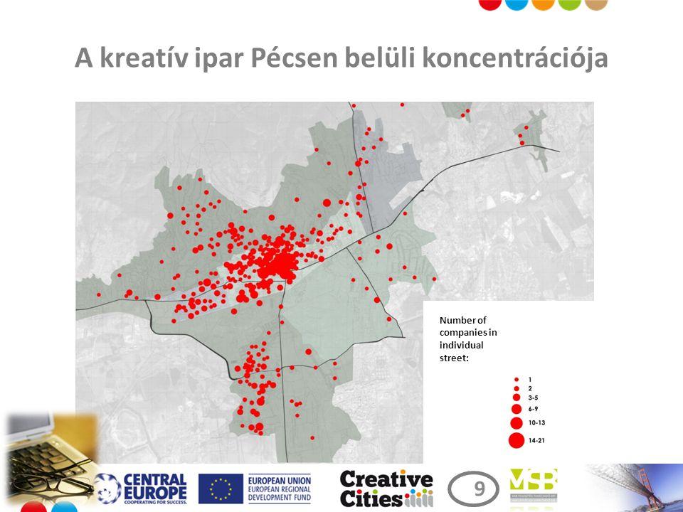 A kreatív ipar Pécsen belüli koncentrációja Number of companies in individual street: 9 9