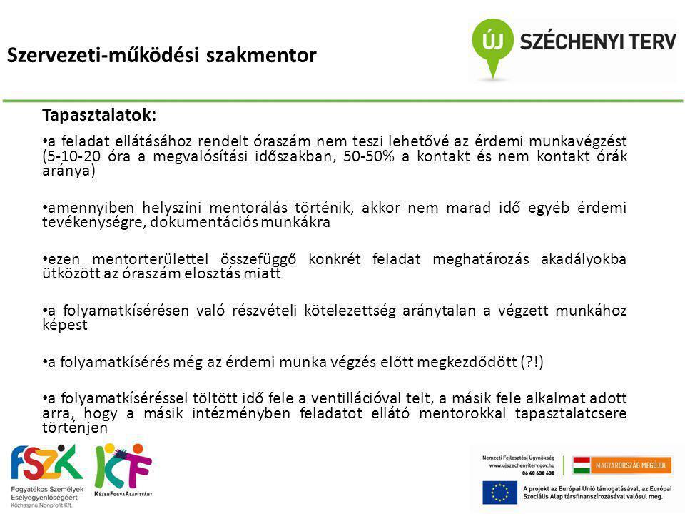 Szervezeti-működési szakmentor Tapasztalatok: • a feladat ellátásához rendelt óraszám nem teszi lehetővé az érdemi munkavégzést (5-10-20 óra a megvaló