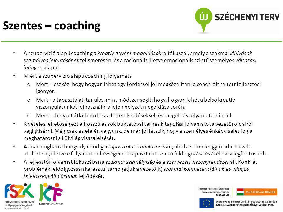 Szentes – coaching • A szupervízió alapú coaching a kreatív egyéni megoldásokra fókuszál, amely a szakmai kihívások személyes jelentésének felismerésé