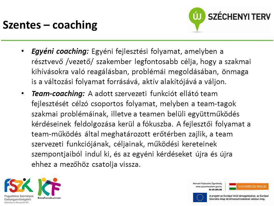 Szentes – coaching • Egyéni coaching: Egyéni fejlesztési folyamat, amelyben a résztvevő /vezető/ szakember legfontosabb célja, hogy a szakmai kihíváso