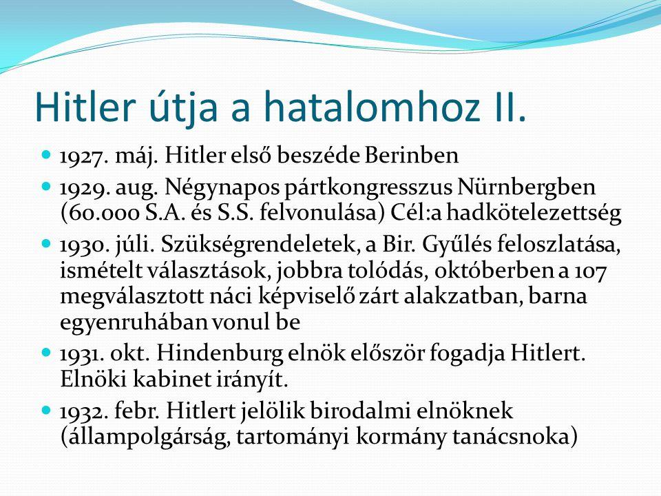 Hitler útja a hatalomhoz II.  1927. máj. Hitler első beszéde Berinben  1929. aug. Négynapos pártkongresszus Nürnbergben (60.000 S.A. és S.S. felvonu