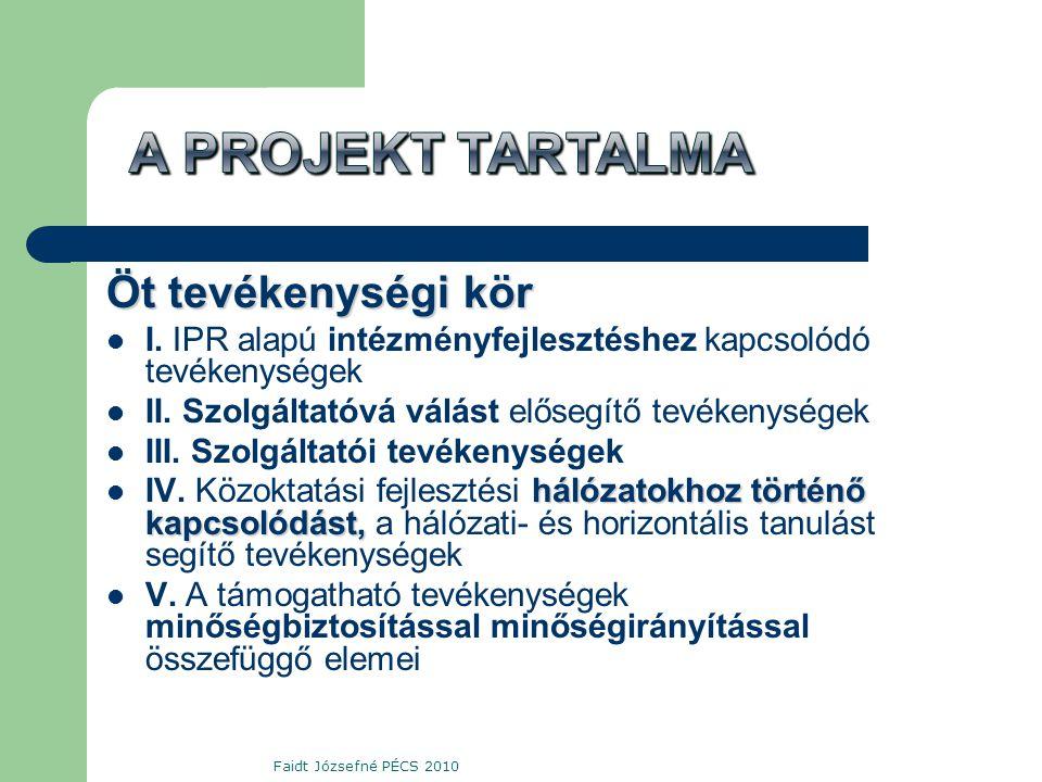 Öt tevékenységi kör  I. IPR alapú intézményfejlesztéshez kapcsolódó tevékenységek  II.