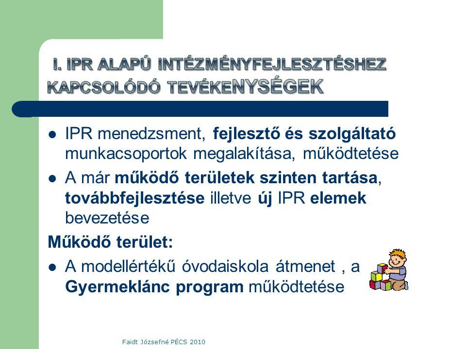  IPR menedzsment, fejlesztő és szolgáltató munkacsoportok megalakítása, működtetése  A már működő területek szinten tartása, továbbfejlesztése illetve új IPR elemek bevezetése Működő terület:  A modellértékű óvodaiskola átmenet, a Gyermeklánc program működtetése Faidt Józsefné PÉCS 2010