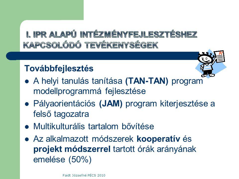 Továbbfejlesztés  A helyi tanulás tanítása (TAN-TAN) program modellprogrammá fejlesztése  Pályaorientációs (JAM) program kiterjesztése a felső tagozatra  Multikulturális tartalom bővítése  Az alkalmazott módszerek kooperatív és projekt módszerrel tartott órák arányának emelése (50%) Faidt Józsefné PÉCS 2010