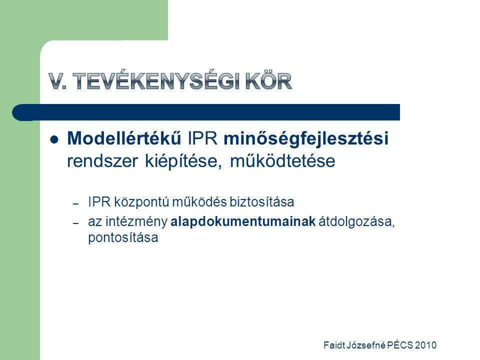  Modellértékű IPR minőségfejlesztési rendszer kiépítése, működtetése – IPR központú működés biztosítása – az intézmény alapdokumentumainak átdolgozása, pontosítása Faidt Józsefné PÉCS 2010