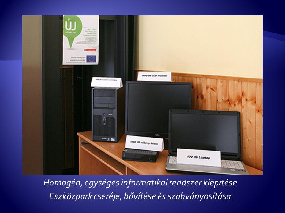 Homogén, egységes informatikai rendszer kiépítése Eszközpark cseréje, bővítése és szabványosítása