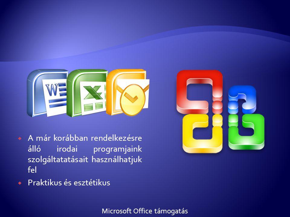  A már korábban rendelkezésre álló irodai programjaink szolgáltatatásait használhatjuk fel  Praktikus és esztétikus Microsoft Office támogatás
