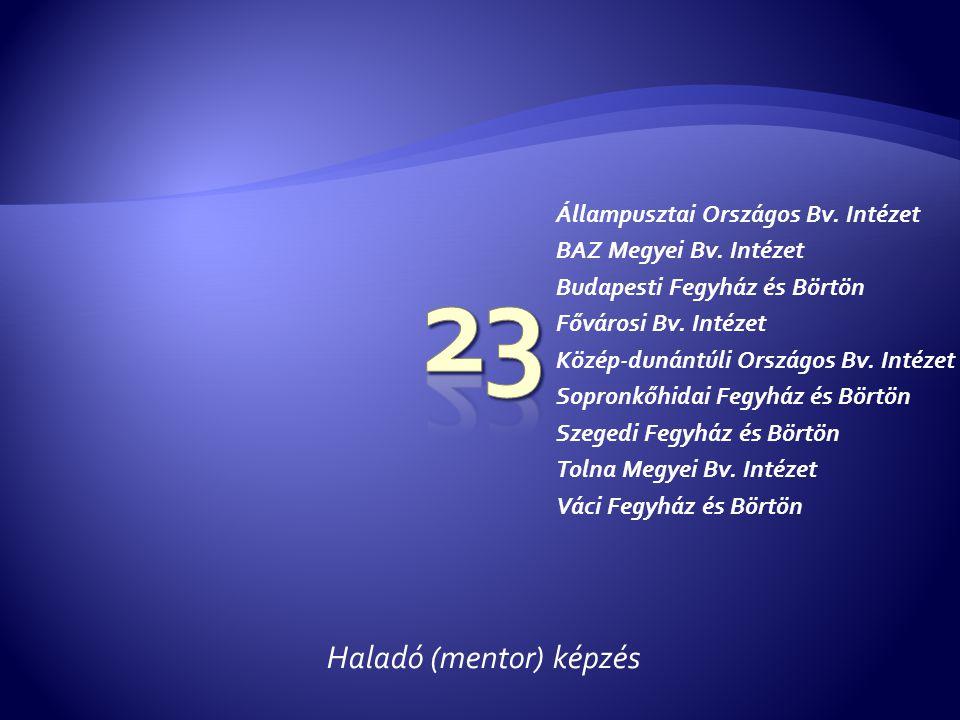 Haladó (mentor) képzés Állampusztai Országos Bv. Intézet BAZ Megyei Bv. Intézet Budapesti Fegyház és Börtön Fővárosi Bv. Intézet Közép-dunántúli Orszá