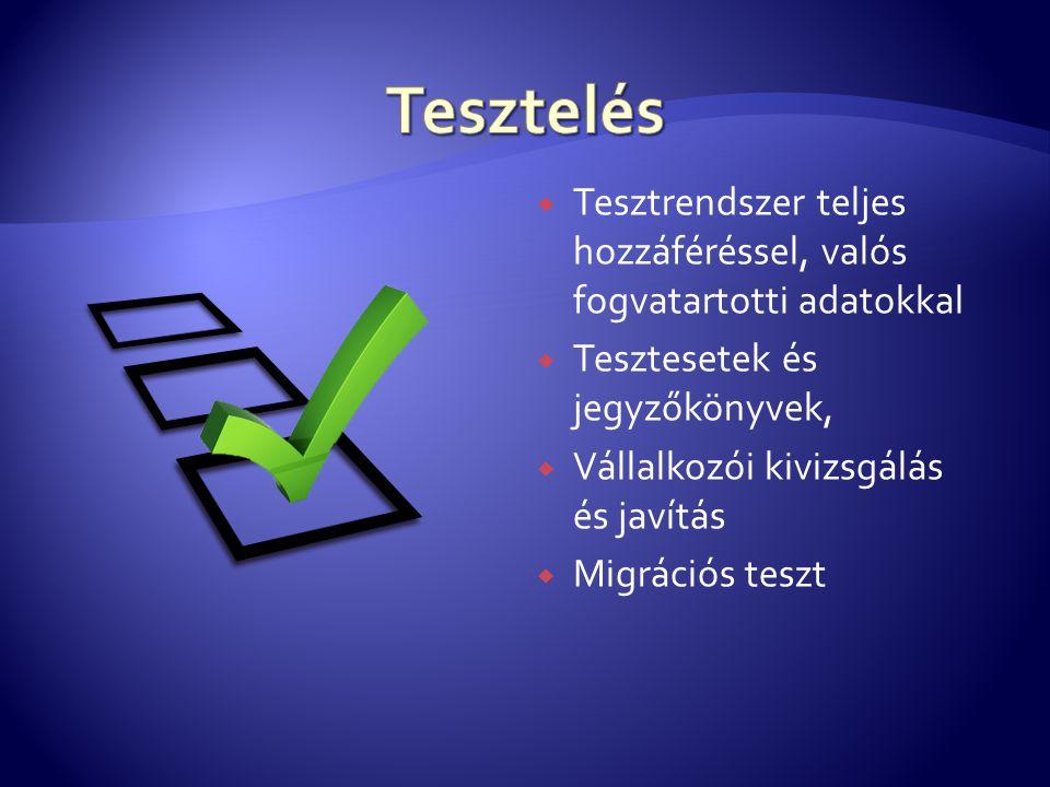  Tesztrendszer teljes hozzáféréssel, valós fogvatartotti adatokkal  Tesztesetek és jegyzőkönyvek,  Vállalkozói kivizsgálás és javítás  Migrációs t