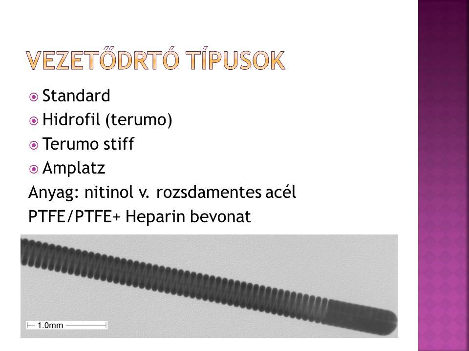  Standard  Hidrofil (terumo)  Terumo stiff  Amplatz Anyag: nitinol v. rozsdamentes acél PTFE/PTFE+ Heparin bevonat