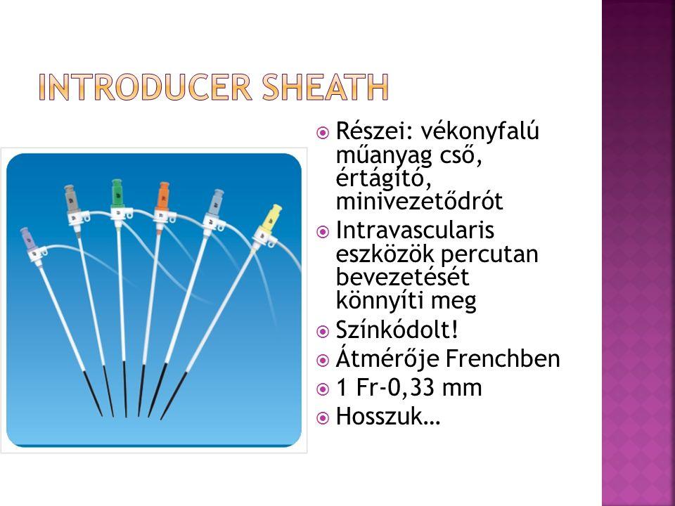  Részei: vékonyfalú műanyag cső, értágító, minivezetődrót  Intravascularis eszközök percutan bevezetését könnyíti meg  Színkódolt!  Átmérője Frenc