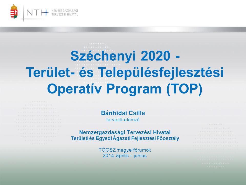 OPERATÍV PROGRAMOK 2014-2020 Operatív Programok Indikatív forráskeretek benyújtott Partnerségi Megállapodás alapján Forráskere t aránya (%) Forráskeret (Mrd Ft, hazai társfinanszírozá ssal) Terület- és Településfejlesztési Operatív Program (TOP) 15,47 1 156,97 Versenyképes Közép-Magyarország Operatív Program (VEKOP) 3,56 266,32 Gazdaságfejlesztési és Innovációs Operatív Program (GINOP) 36,35 2 718,51 Emberi Erőforrás Fejlesztési Operatív Program (EFOP) 11,83 884,94 Környezeti és Energetikai Hatékonysági Operatív Program (KEHOP) 14,94 1 117,77 Integrált Közlekedésfejlesztési Operatív Program (IKOP) 13,83 1 034,16 Közigazgatás-és Közszolgáltatás-fejlesztés Operatív Program (KÖFOP) 3,99 298,49 Vidékfejlesztési Operatív Program (VP) Magyar Halgazdálkodási Operatív Program (MAHOP) Összesen:100 %7 477,16