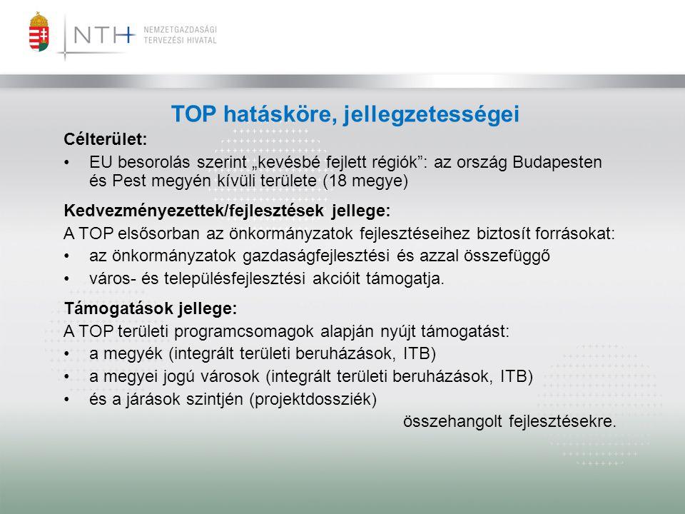 """TOP hatásköre, jellegzetességei Célterület: •EU besorolás szerint """"kevésbé fejlett régiók"""": az ország Budapesten és Pest megyén kívüli területe (18 me"""
