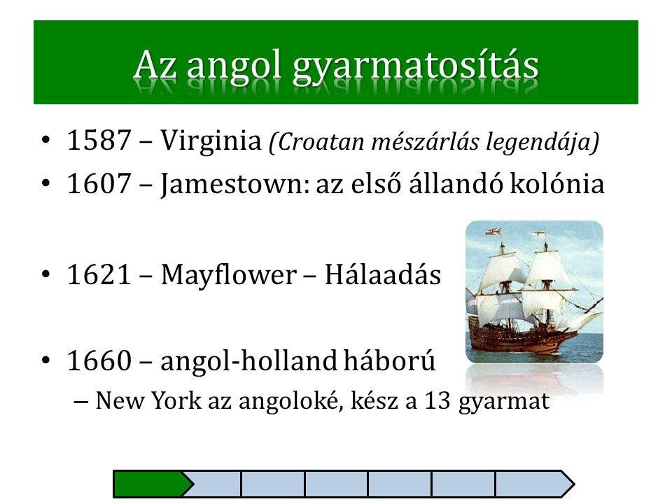 • 1587 – Virginia (Croatan mészárlás legendája) • 1607 – Jamestown: az első állandó kolónia • 1621 – Mayflower – Hálaadás • 1660 – angol-holland hábor