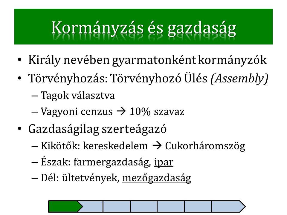 • Király nevében gyarmatonként kormányzók • Törvényhozás: Törvényhozó Ülés (Assembly) – Tagok választva – Vagyoni cenzus  10% szavaz • Gazdaságilag s
