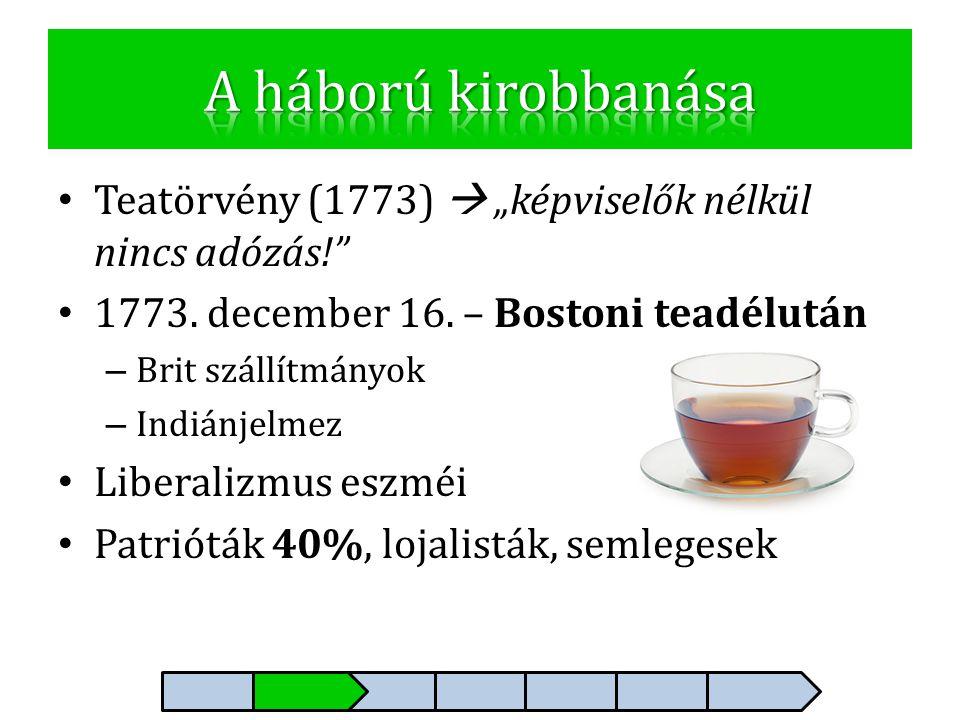 """• Teatörvény (1773)  """"képviselők nélkül nincs adózás!"""" • 1773. december 16. – Bostoni teadélután – Brit szállítmányok – Indiánjelmez • Liberalizmus e"""