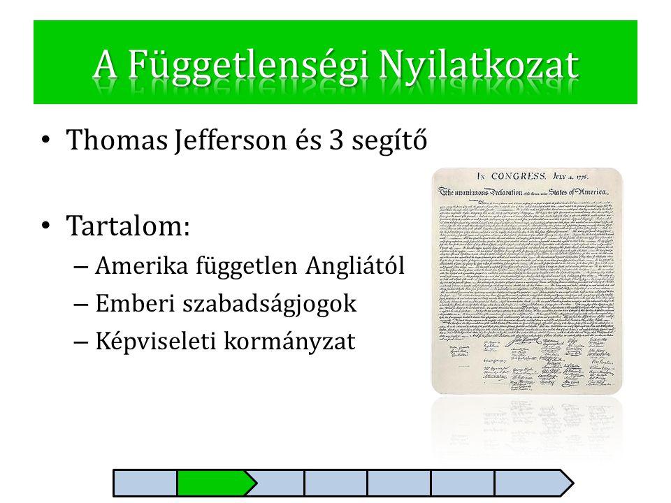 • Thomas Jefferson és 3 segítő • Tartalom: – Amerika független Angliától – Emberi szabadságjogok – Képviseleti kormányzat