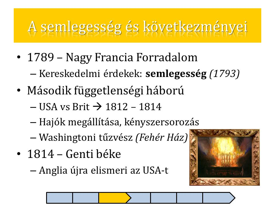 • 1789 – Nagy Francia Forradalom – Kereskedelmi érdekek: semlegesség (1793) • Második függetlenségi háború – USA vs Brit  1812 – 1814 – Hajók megállí