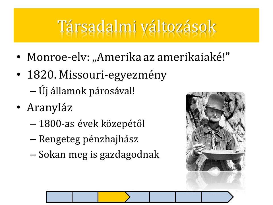 """• Monroe-elv: """"Amerika az amerikaiaké!"""" • 1820. Missouri-egyezmény – Új államok párosával! • Aranyláz – 1800-as évek közepétől – Rengeteg pénzhajhász"""