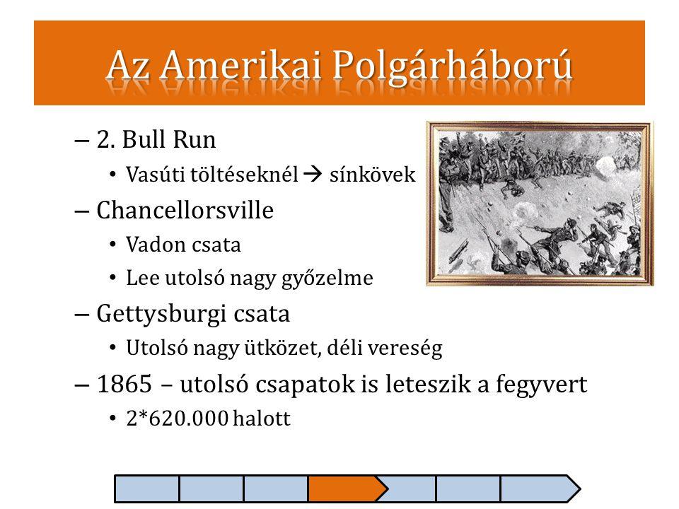 – 2. Bull Run • Vasúti töltéseknél  sínkövek – Chancellorsville • Vadon csata • Lee utolsó nagy győzelme – Gettysburgi csata • Utolsó nagy ütközet, d