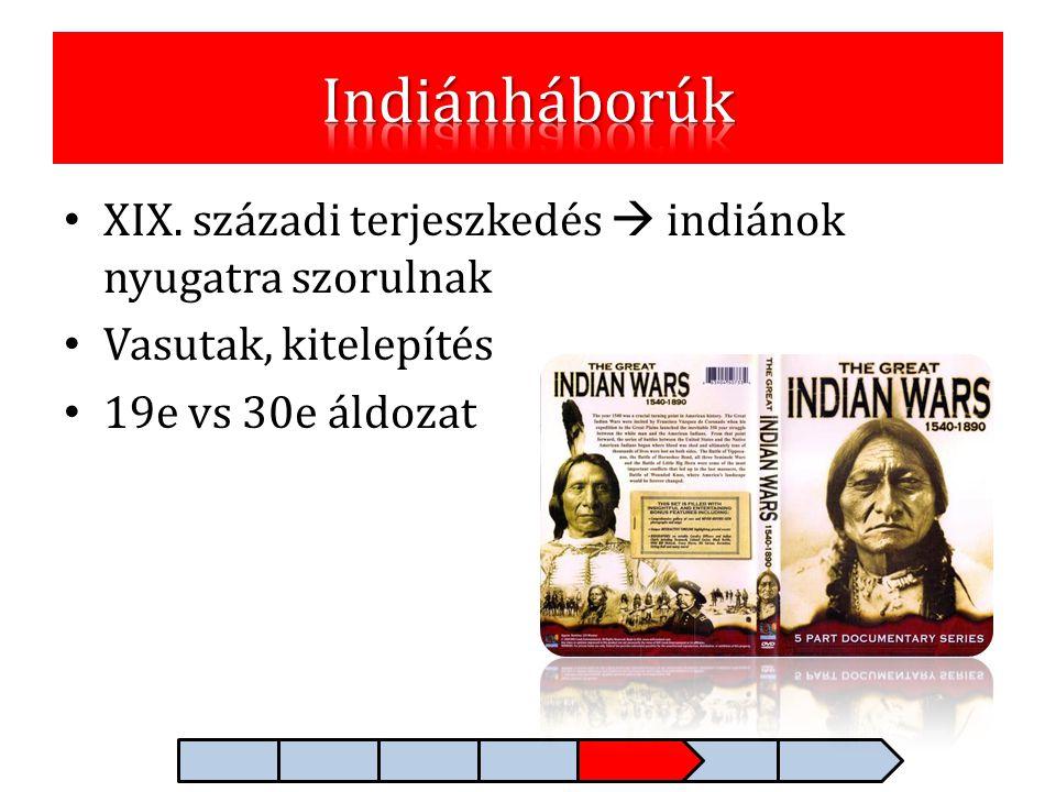 • XIX. századi terjeszkedés  indiánok nyugatra szorulnak • Vasutak, kitelepítés • 19e vs 30e áldozat