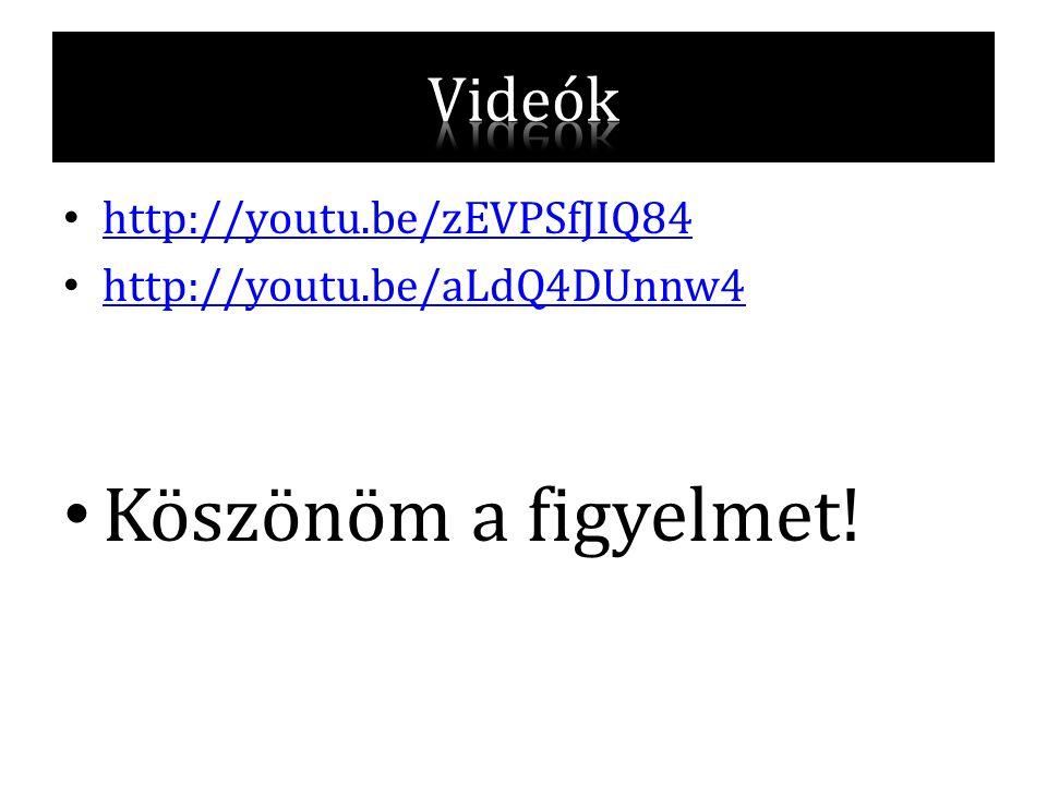 • http://youtu.be/zEVPSfJIQ84 http://youtu.be/zEVPSfJIQ84 • http://youtu.be/aLdQ4DUnnw4 http://youtu.be/aLdQ4DUnnw4 • Köszönöm a figyelmet!