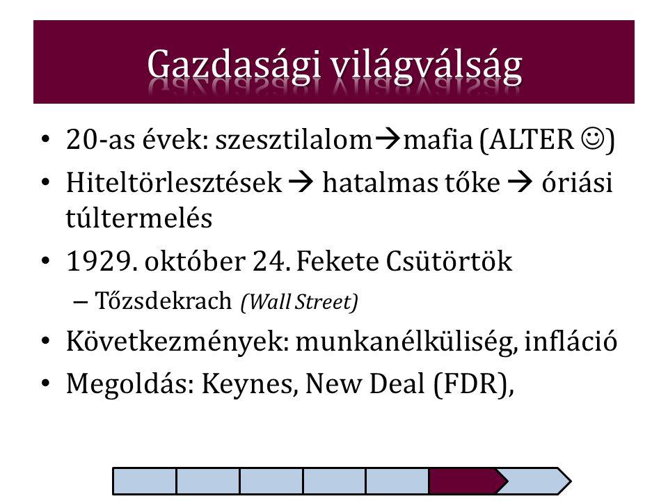• 20-as évek: szesztilalom  mafia (ALTER  ) • Hiteltörlesztések  hatalmas tőke  óriási túltermelés • 1929. október 24. Fekete Csütörtök – Tőzsdekr