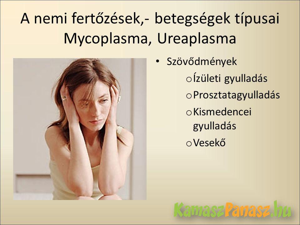 A nemi fertőzések,- betegségek típusai Mycoplasma, Ureaplasma • Szövődmények o Ízületi gyulladás o Prosztatagyulladás o Kismedencei gyulladás o Vesekő