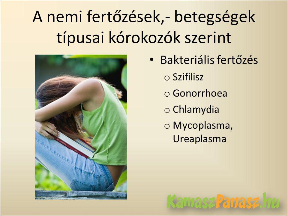 A nemi fertőzések,- betegségek típusai kórokozók szerint • Bakteriális fertőzés o Szifilisz o Gonorrhoea o Chlamydia o Mycoplasma, Ureaplasma