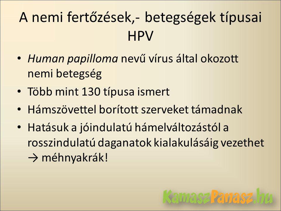 A nemi fertőzések,- betegségek típusai HPV • Human papilloma nevű vírus által okozott nemi betegség • Több mint 130 típusa ismert • Hámszövettel borít