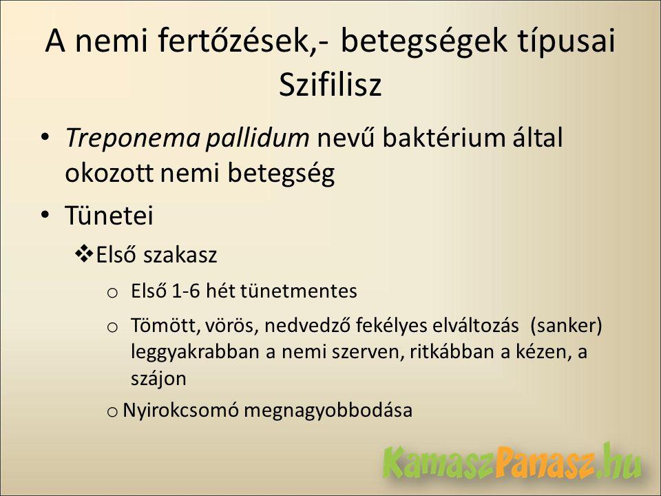 A nemi fertőzések,- betegségek típusai Szifilisz • Treponema pallidum nevű baktérium által okozott nemi betegség • Tünetei  Első szakasz o Első 1-6 h