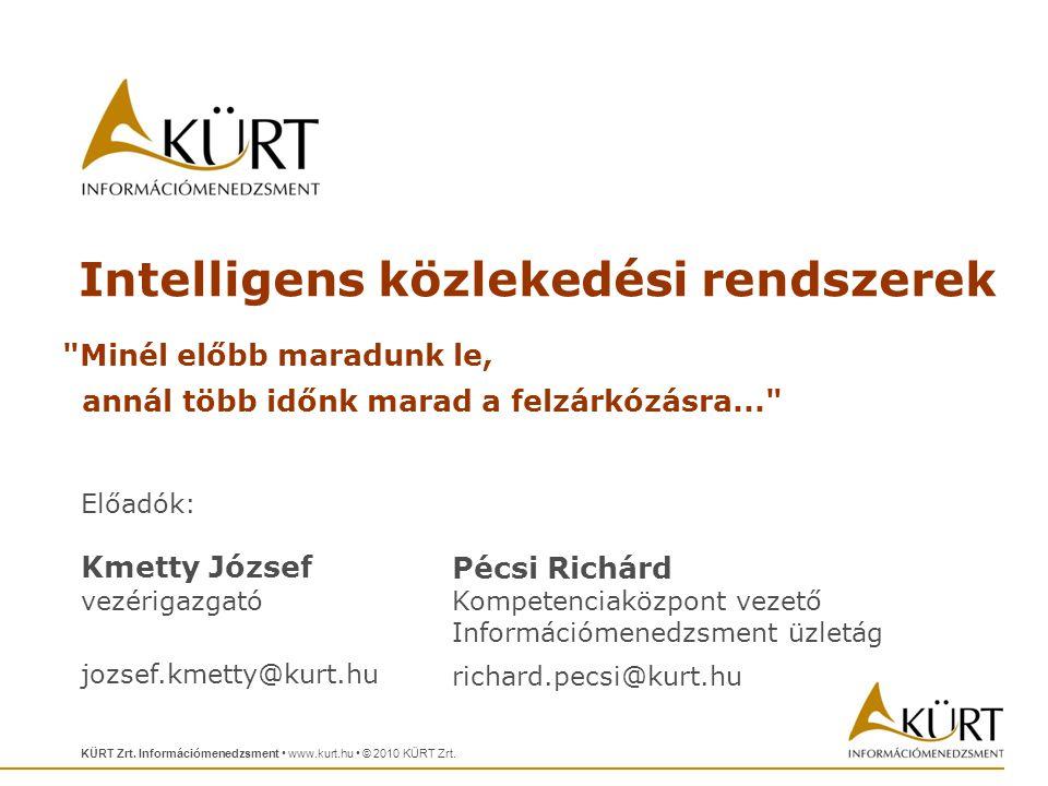 Előadók: Kmetty József vezérigazgató jozsef.kmetty@kurt.hu KÜRT Zrt.