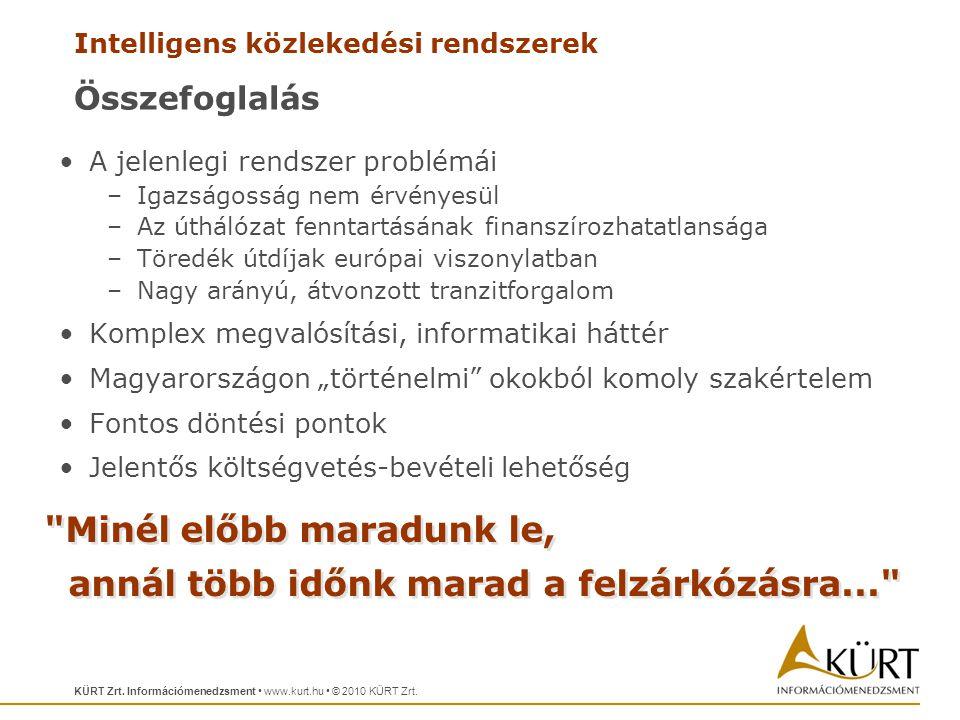 Intelligens közlekedési rendszerek KÜRT Zrt.Információmenedzsment • www.kurt.hu • © 2010 KÜRT Zrt.