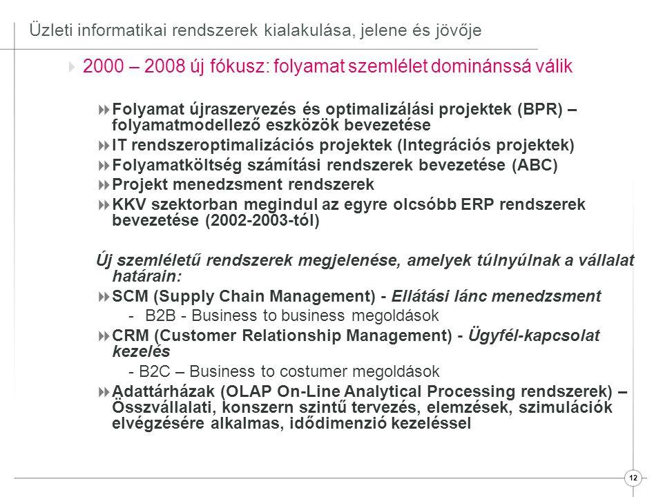 13 Üzleti informatikai rendszerek kialakulása, jelene és jövője  A jelen (2008 - 2012)  KKV szektroban ERP bevezetési bumm (100 millió vállalat)  Államigazgatásban és közigazgatásban is tért nyernek az ERP rendszerek  E – kormányzat, web alapú ügyintézés  Elektronikus piacterek elterjedése  E Business megoldások térnyerése a vállalatoknál - B2B rendszerek elterjedése - B2C rendszerek elterjedése  SOA (Service Oriented Architecture) rendszerek kialakulása -Több különálló, önálló szolgáltatást végző rendszert összekapcsoló architektúra, közös platform -Elsősorban Bankok kezdtek ilyen projektekbe  Mobil technológia elterjedése (telefonok, PDA-k, notebook)