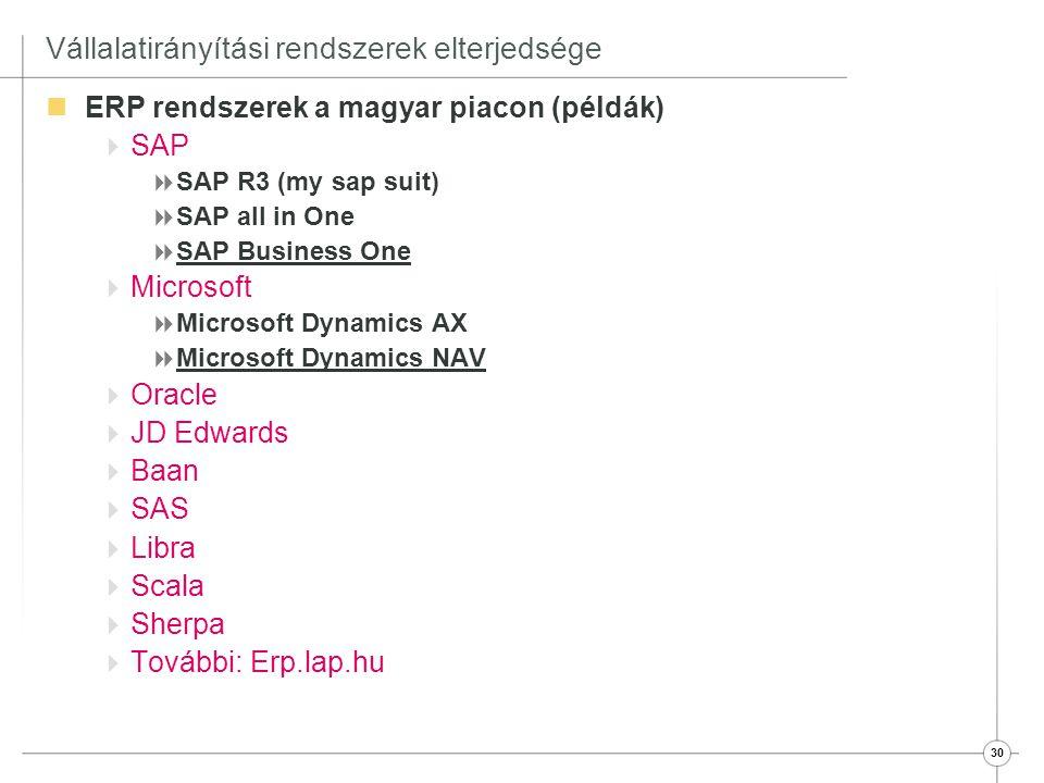 30 Vállalatirányítási rendszerek elterjedsége  ERP rendszerek a magyar piacon (példák)  SAP  SAP R3 (my sap suit)  SAP all in One  SAP Business O