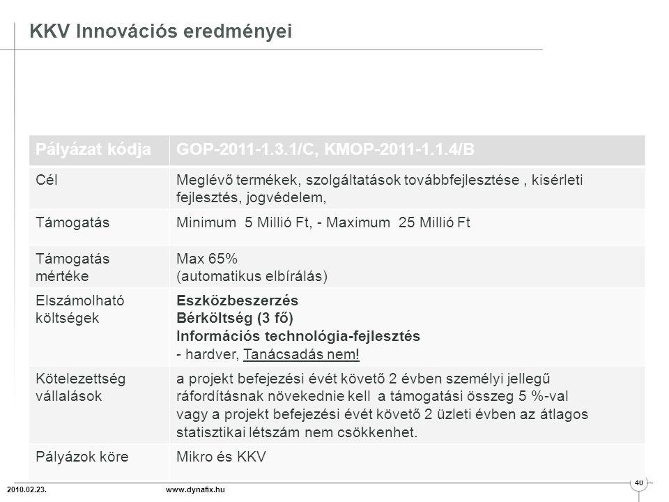 Méretbeli feltételek 2011.01.29 www.dynafix.hu 41  összes foglalkoztatottak létszáma kevesebb mint 250 fő; (min 1 fő)  éves nettó árbevétel legfeljebb 50 millió euro (12,5 milliárd Ft); vagy  mérlegfőösszege legfeljebb 43 millió euro (10,7 milliárd Ft);  egyéni vállalkozók esetén az utolsó személyi jövedelemadó-bevallásban szereplő összes bevétele nem haladhatja meg az 50 millió eurót;  az állam, az önkormányzat és a fenti szempontok szerint felsorolt vállalkozásokon kívül eső vállalkozások tulajdoni részesedése nem haladhatja meg a 25%-ot.