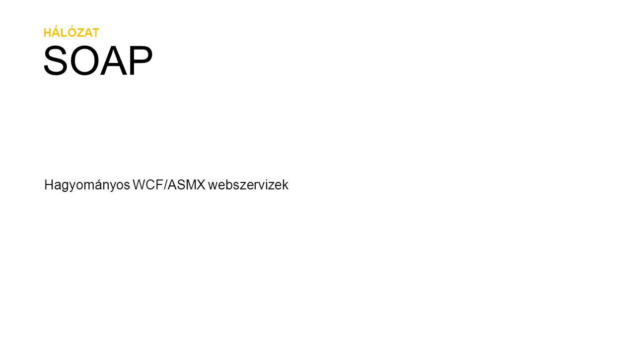HÁLÓZAT REST A webszerviz vezérlése URI-ken keresztül HttpGet, HttpPut, HttpDelete, HttpPost Bookmarks GetUserPublicBookmarks(string username, string tag) http://contoso.com/bookmarkservice/{username}?tag={tag}