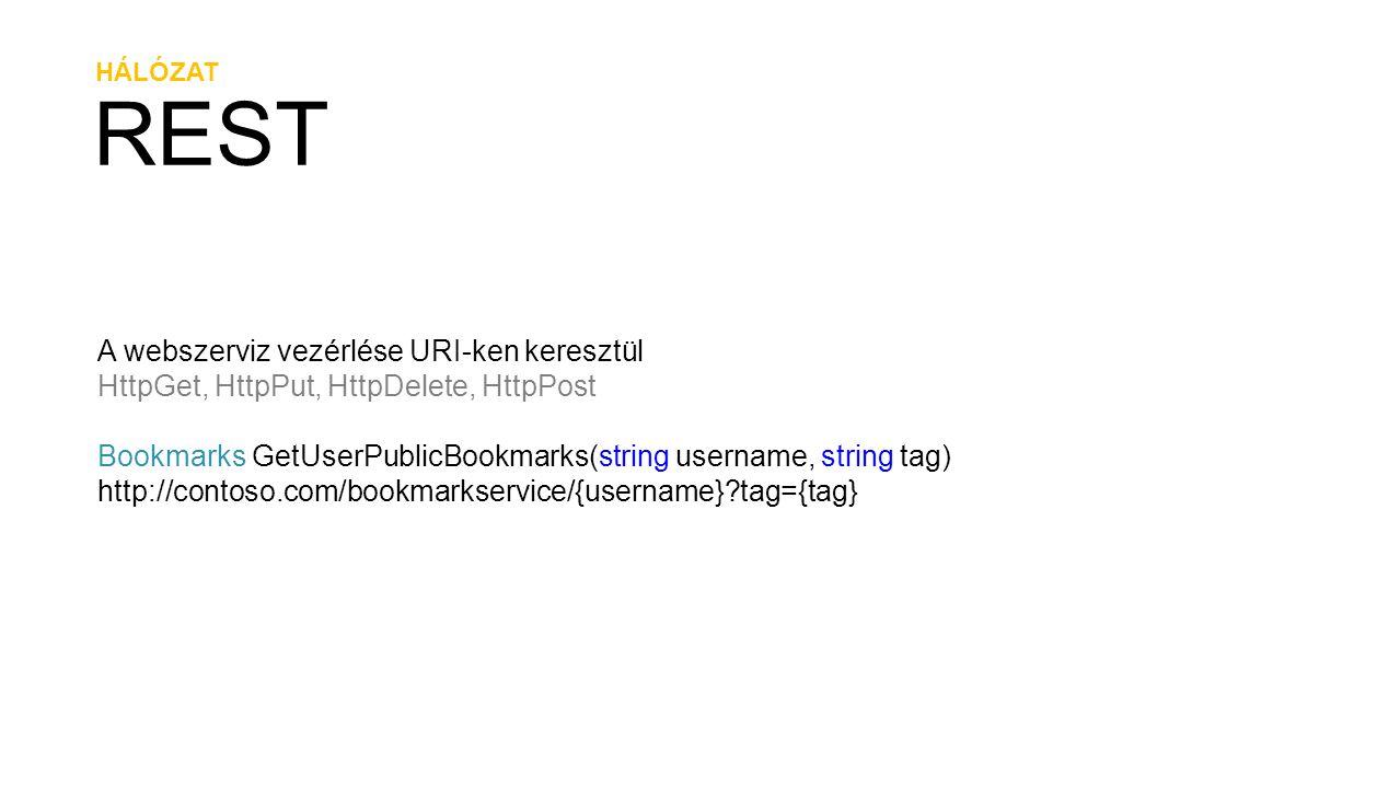 HÁLÓZAT REST A webszerviz vezérlése URI-ken keresztül HttpGet, HttpPut, HttpDelete, HttpPost Bookmarks GetUserPublicBookmarks(string username, string